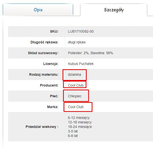 Przykład możliwej realizacji linkowania wewnętrznego z karty produktu