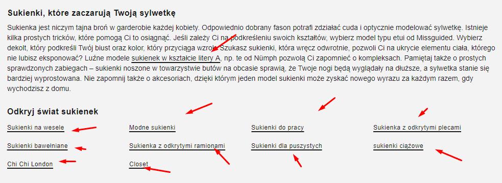 przykład linkowania wewnętrznego z opisu kategorii