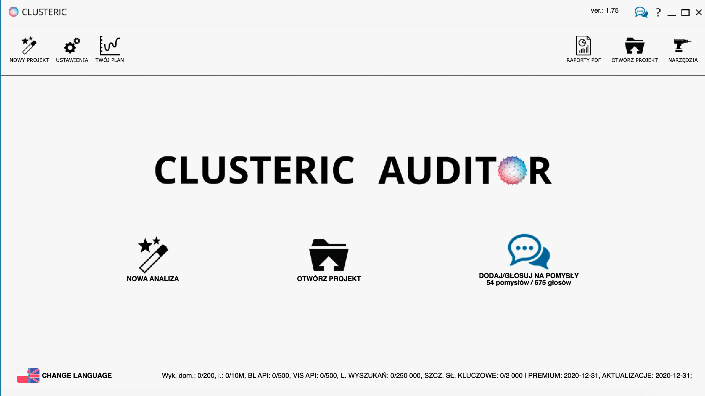 Narzędzie SEO - clusteric