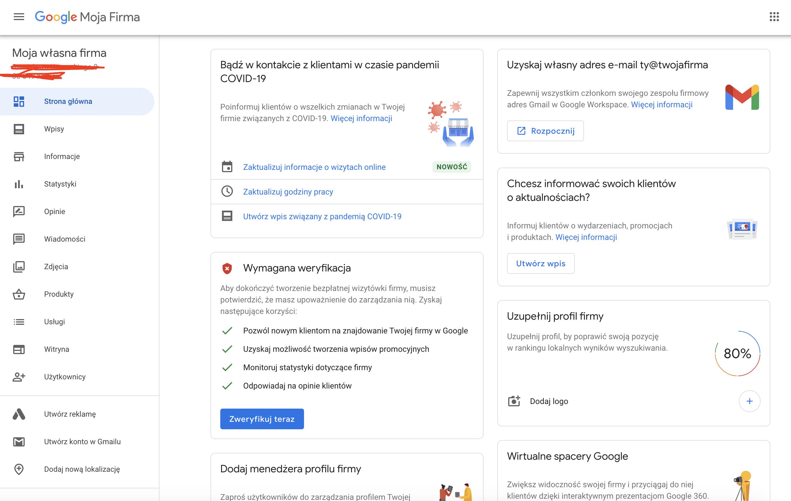 Google Moja Firma -widok panelu