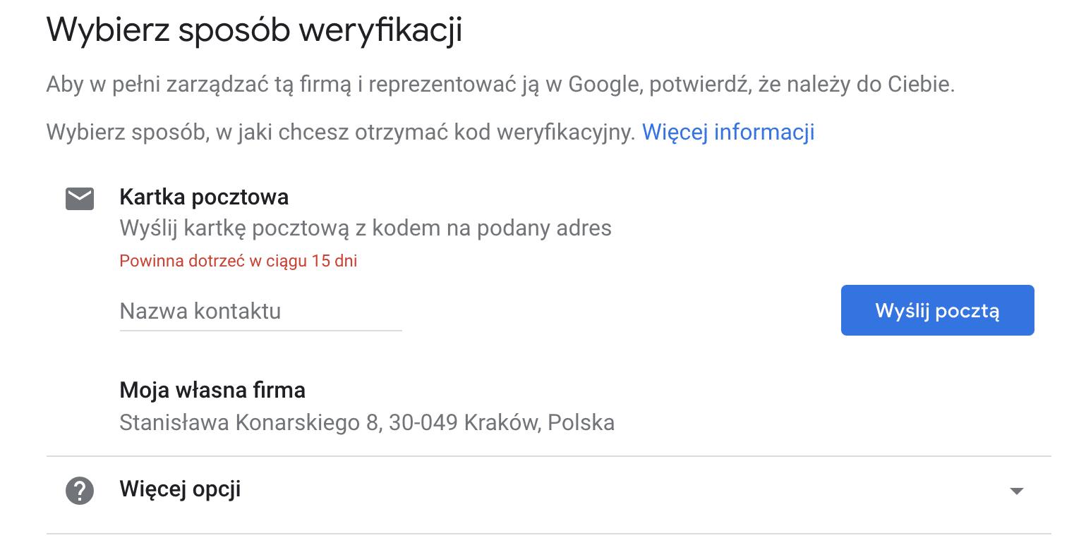 Google Moja Firma - jak zweryfikować wizytówkę