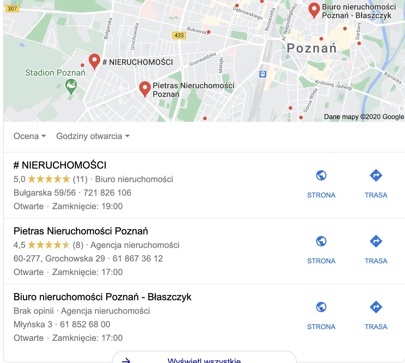 Przykład pozycjonowanie lokalnego w Poznaniu dla nieruchomości