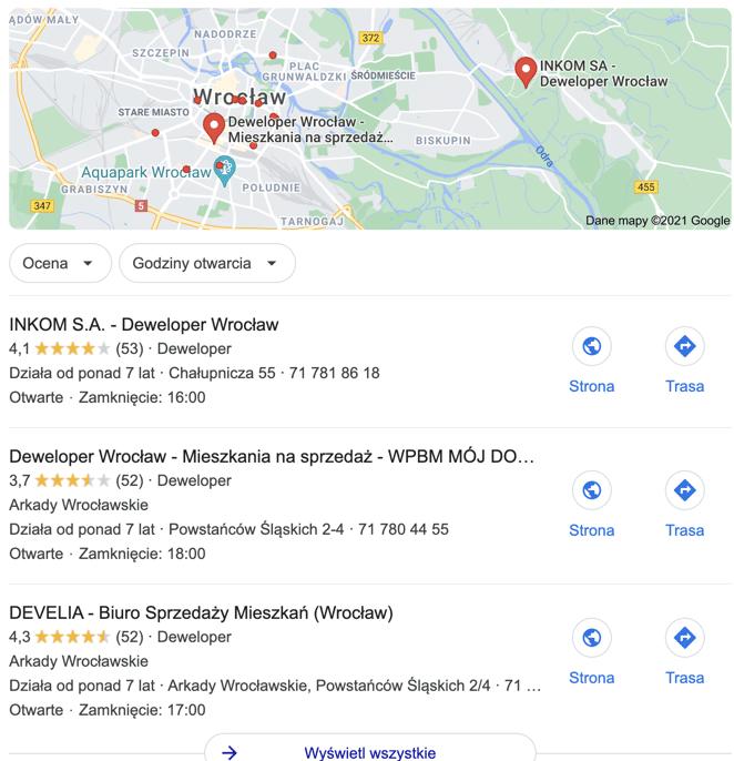 wyniki lokalnego seo dla dewelopera we Wrocławiu