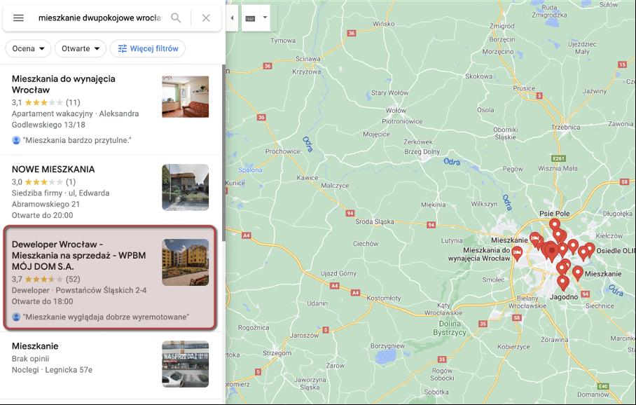 wyniki mapy google w zapytaniu o mieszkania dwupokojowe we Wrocławiu