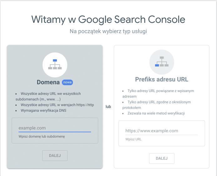 logowanie do narzędzia google search console